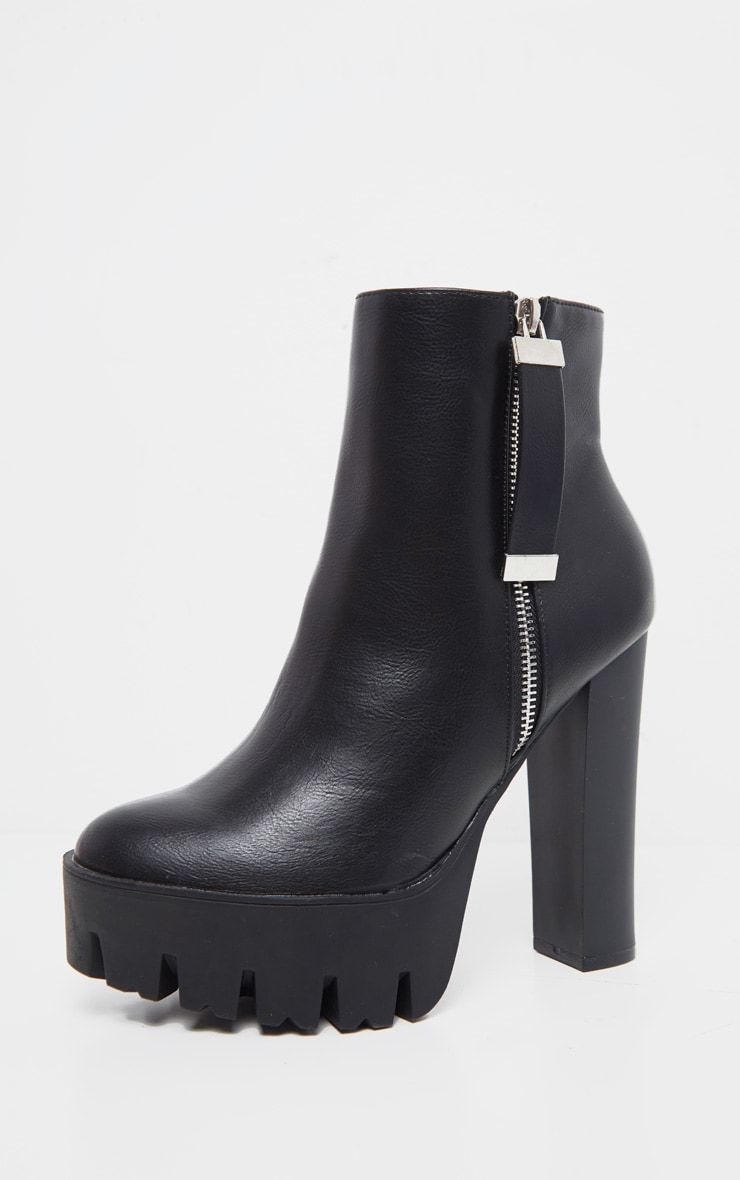 Black Platform Zip Ankle Boot 3