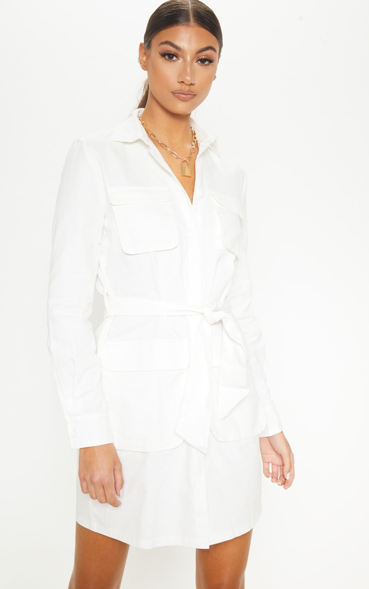 Tall White Utility Tie Waist Shirt Dress 1