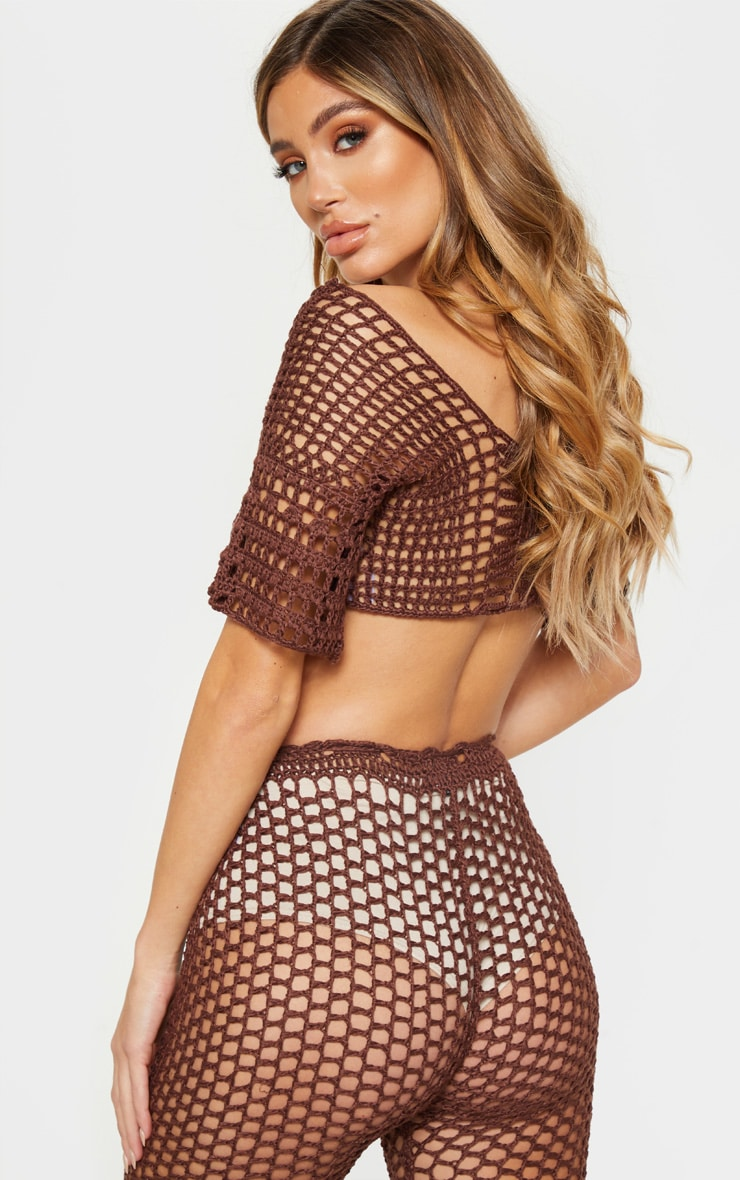 Top court en crochet marron chocolat 2