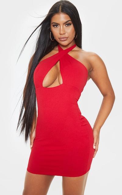 Scarlet Halterneck Detail Open Back Bodycon Dress