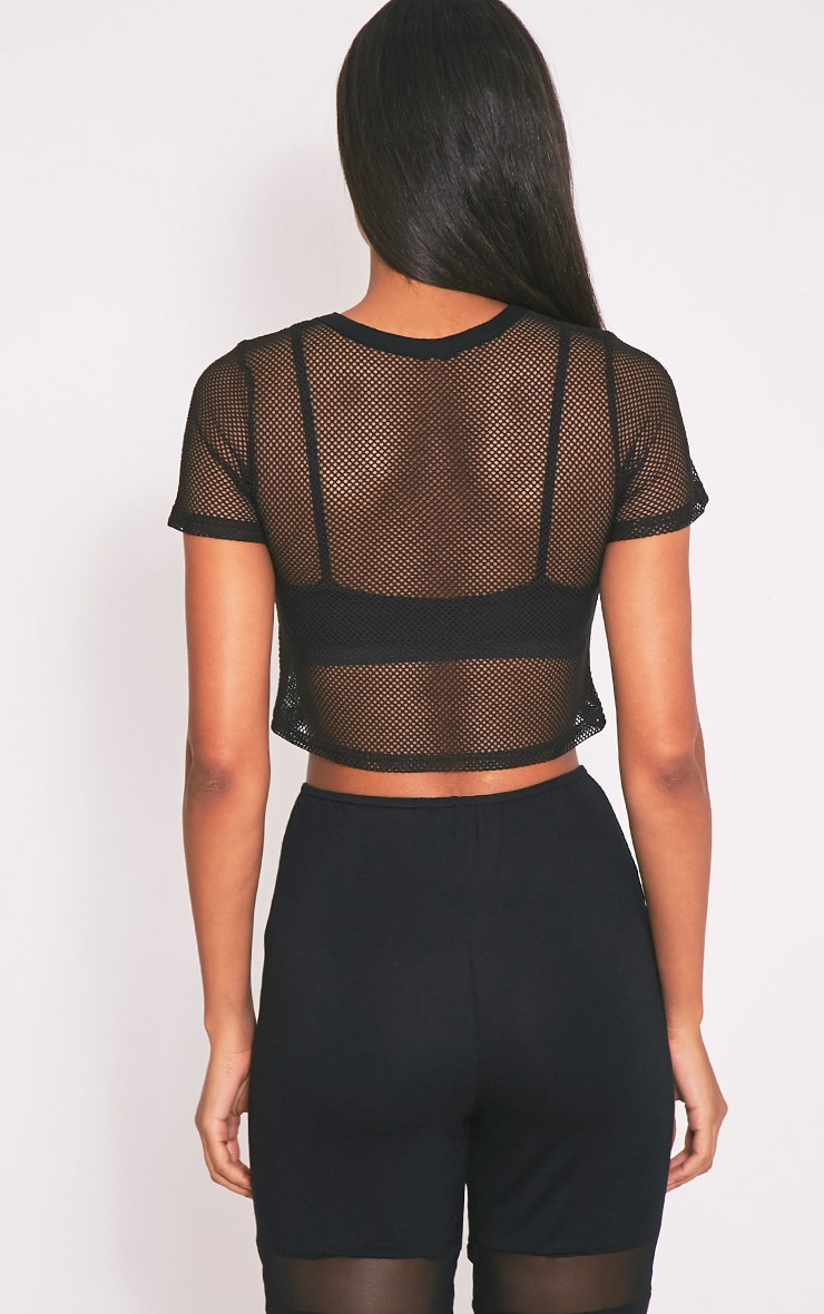 Mayce Black Fishnet Shortsleeve Crop Top 2