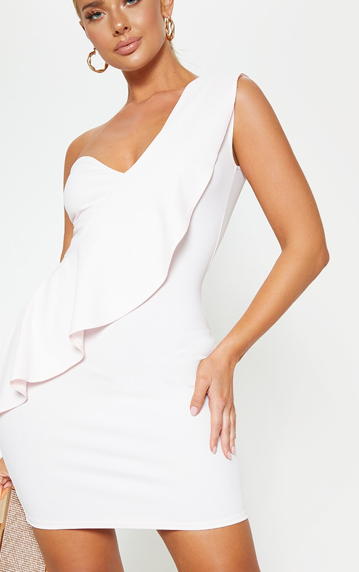 Baby Pink Ruffle Detail Bodycon Dress 5