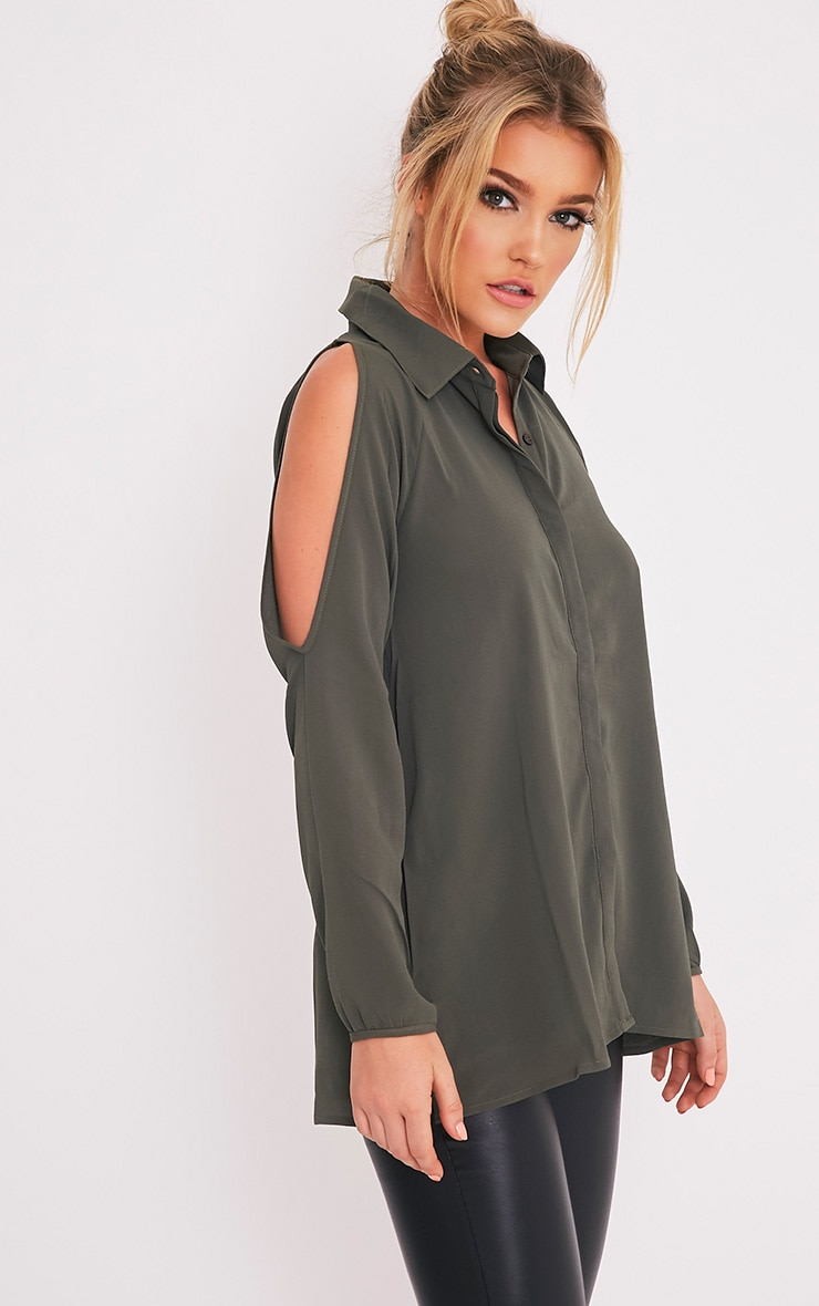 Lorisa Khaki Cold Shoulder Floaty Blouse 4