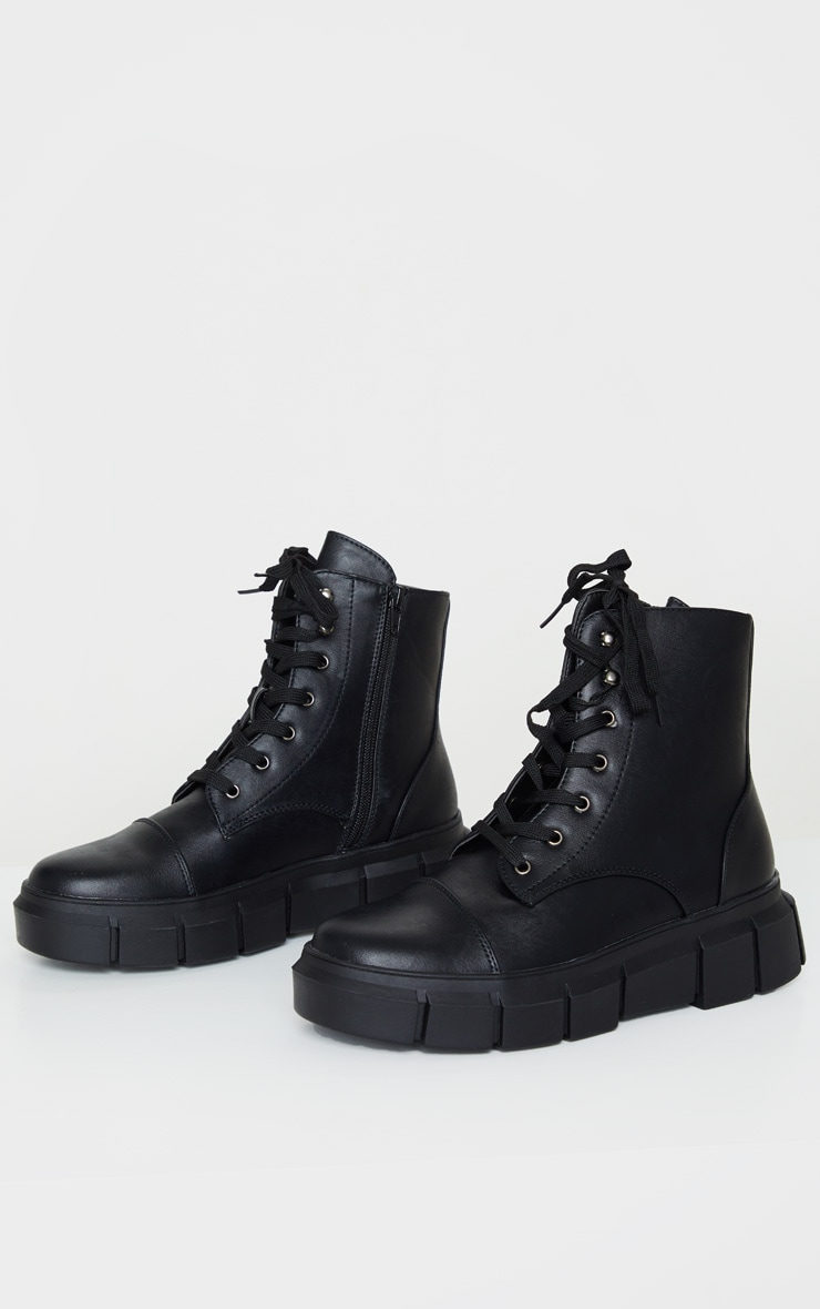 Black High Ankle Lace Up Chunky Boot 3
