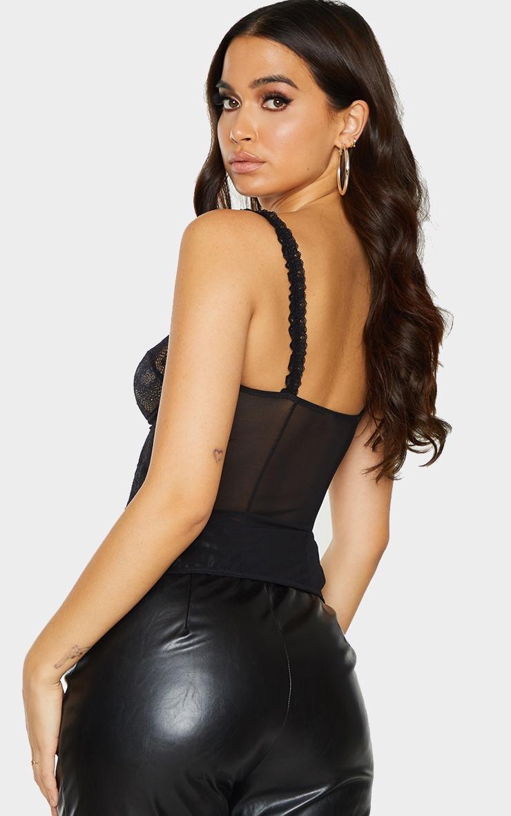 Black Lace Split Hem Corset 2