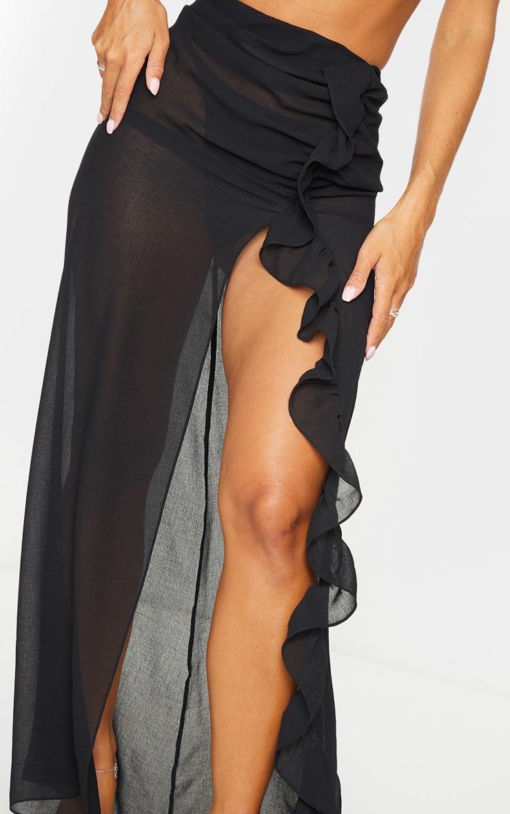 Black Frill Side Maxi Beach Skirt 4