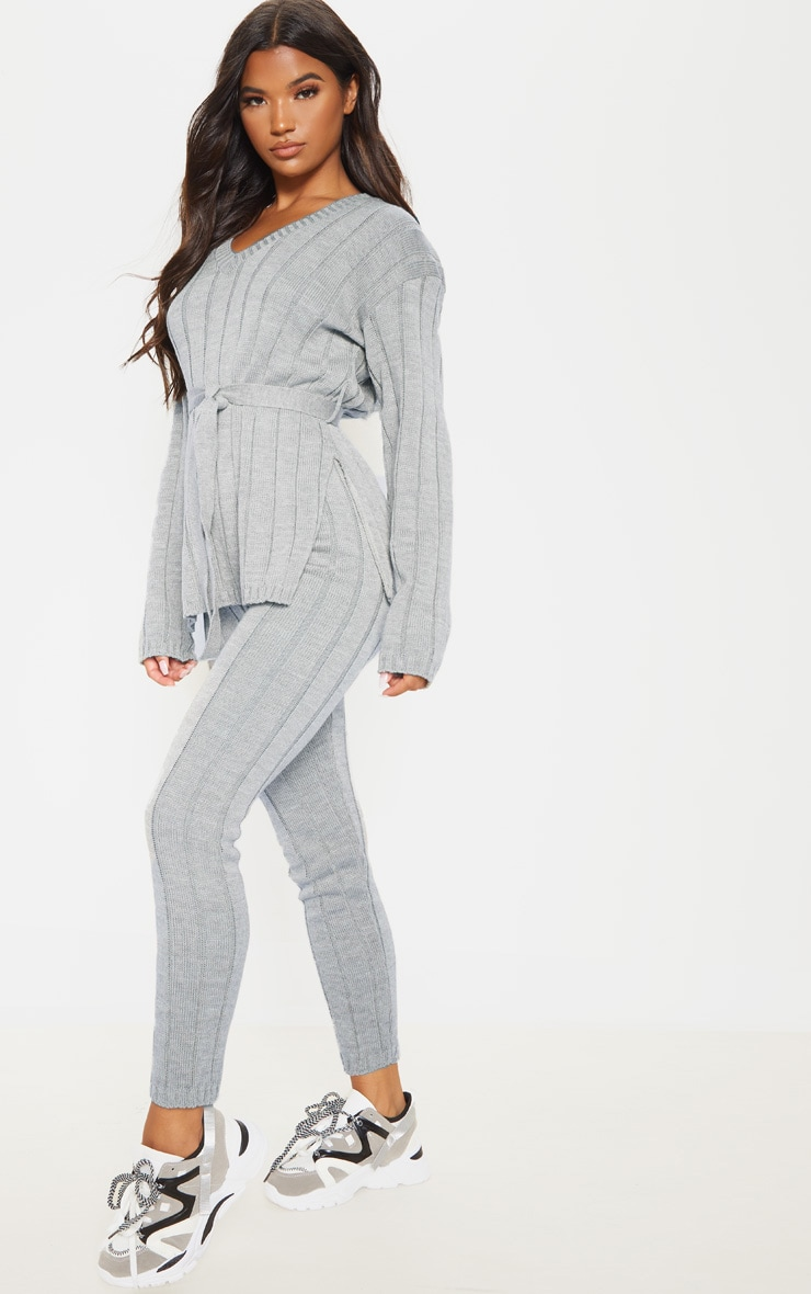 Grey Belted Longline Jumper And Legging Lounge Set 4