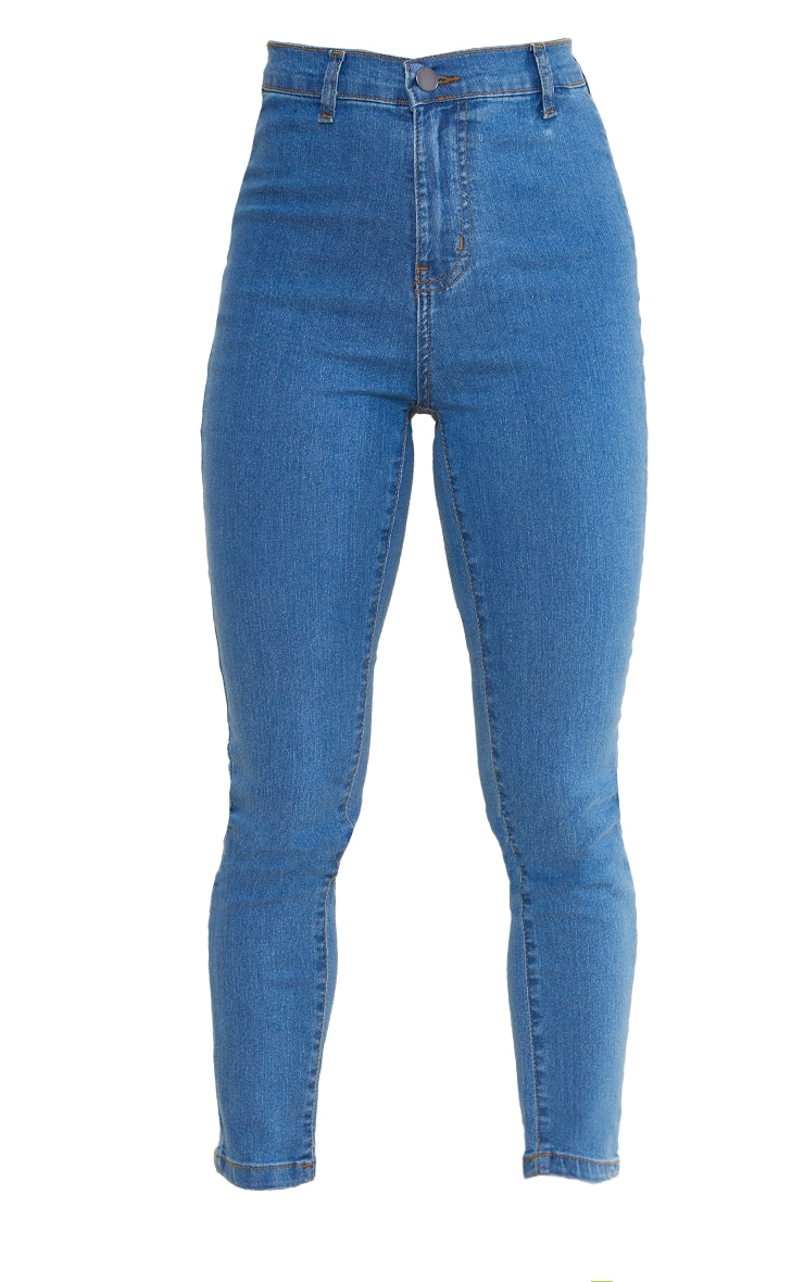 Petite Mid Blue Wash Disco Fit Skinny Jeans 5