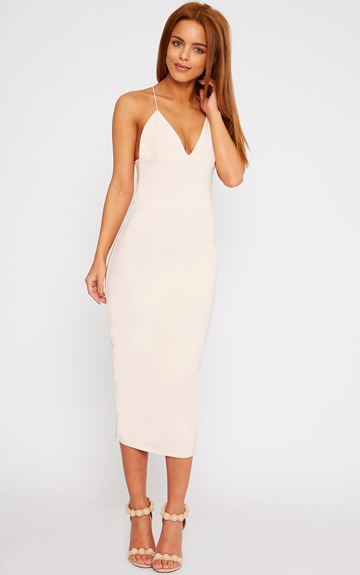 Deanna Nude Slinky Cross Back Midi Dress 4