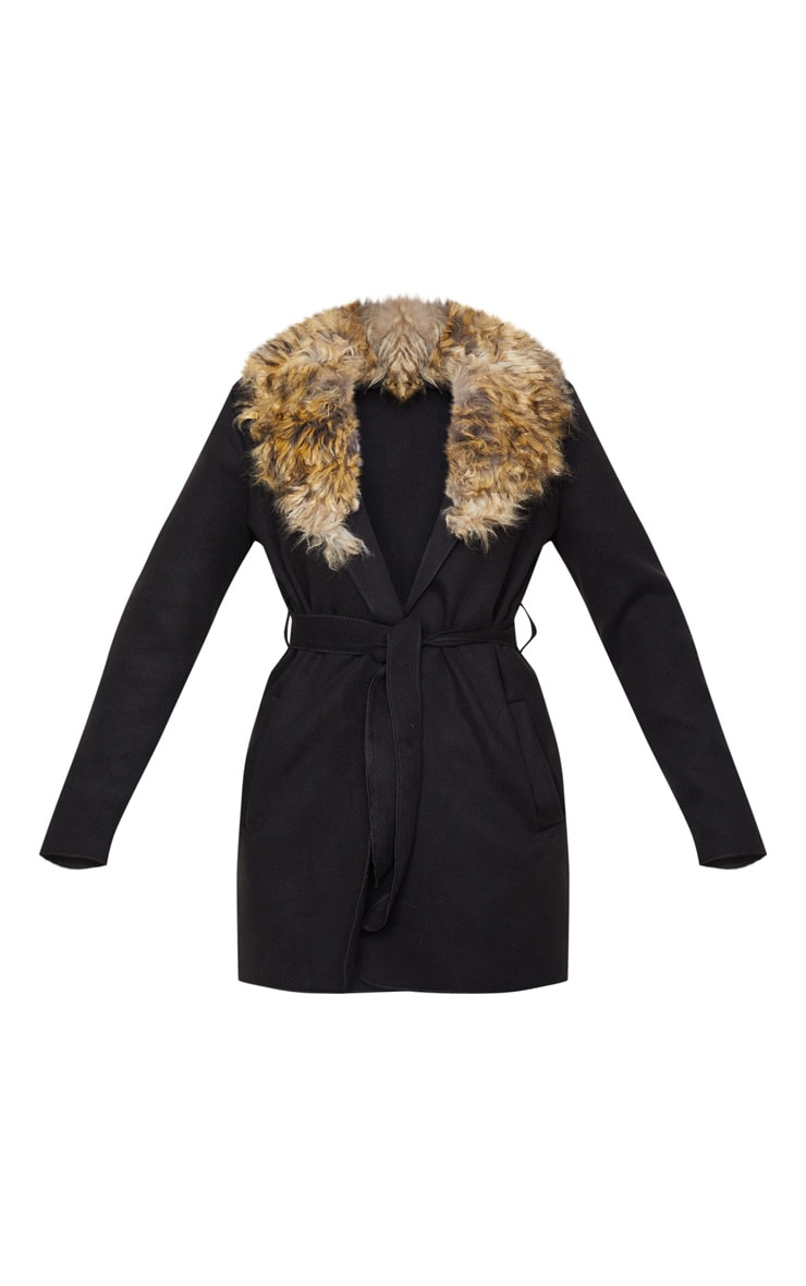 Lydia Black Faux Fur Trimmed Belted Coat 3