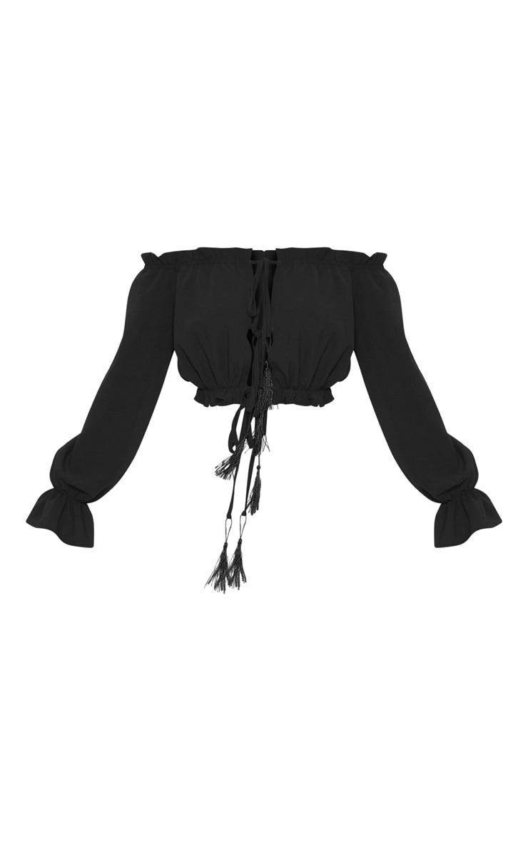 Petite Black Tie Front Tassel Detail Bardot Crop Top 3