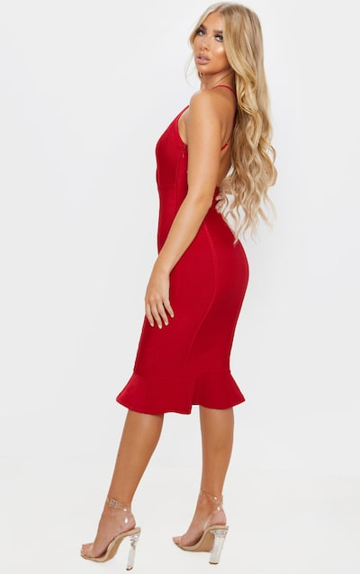 Scarlet Bandage Cross Strap Open Back Frill Hem Midi Dress
