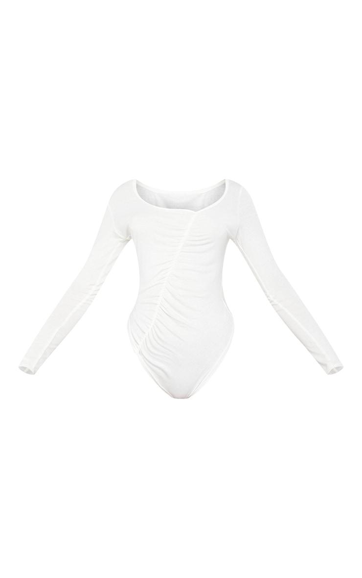 Cream Jersey Ruched Asymmetric Long Sleeve Bodysuit 5