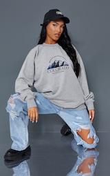 Ash Grey Colorado Print Oversized Sweatshirt 3