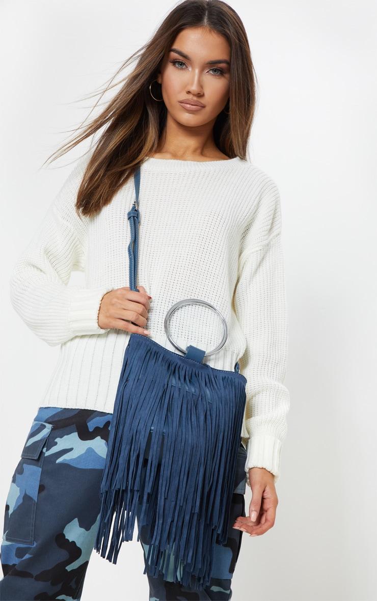 Teal Suedette Fringe Grab Bag