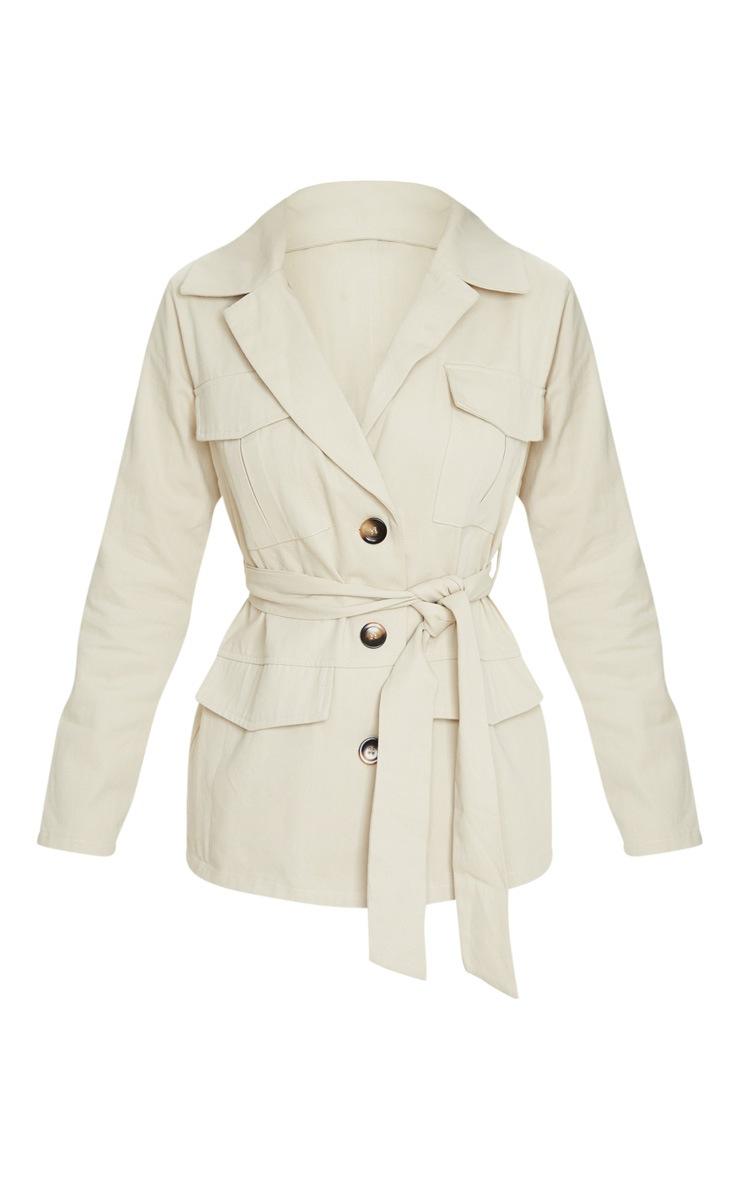 Camel Linen Button Front Utility Jacket 5