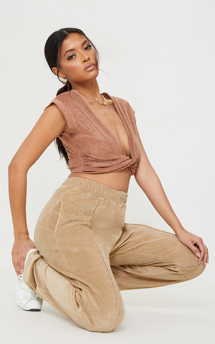 Mocha Towelling Twist Front Sleeveless Crop Top 3