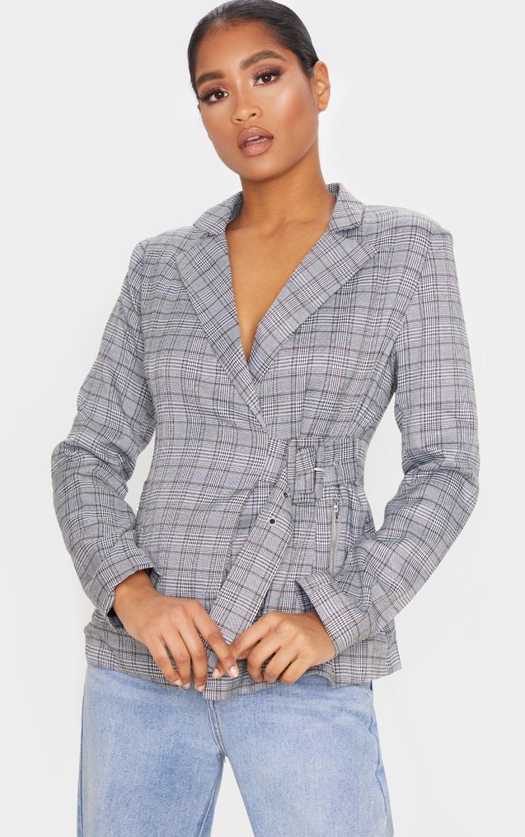 Grey Check Side Belted Blazer 1