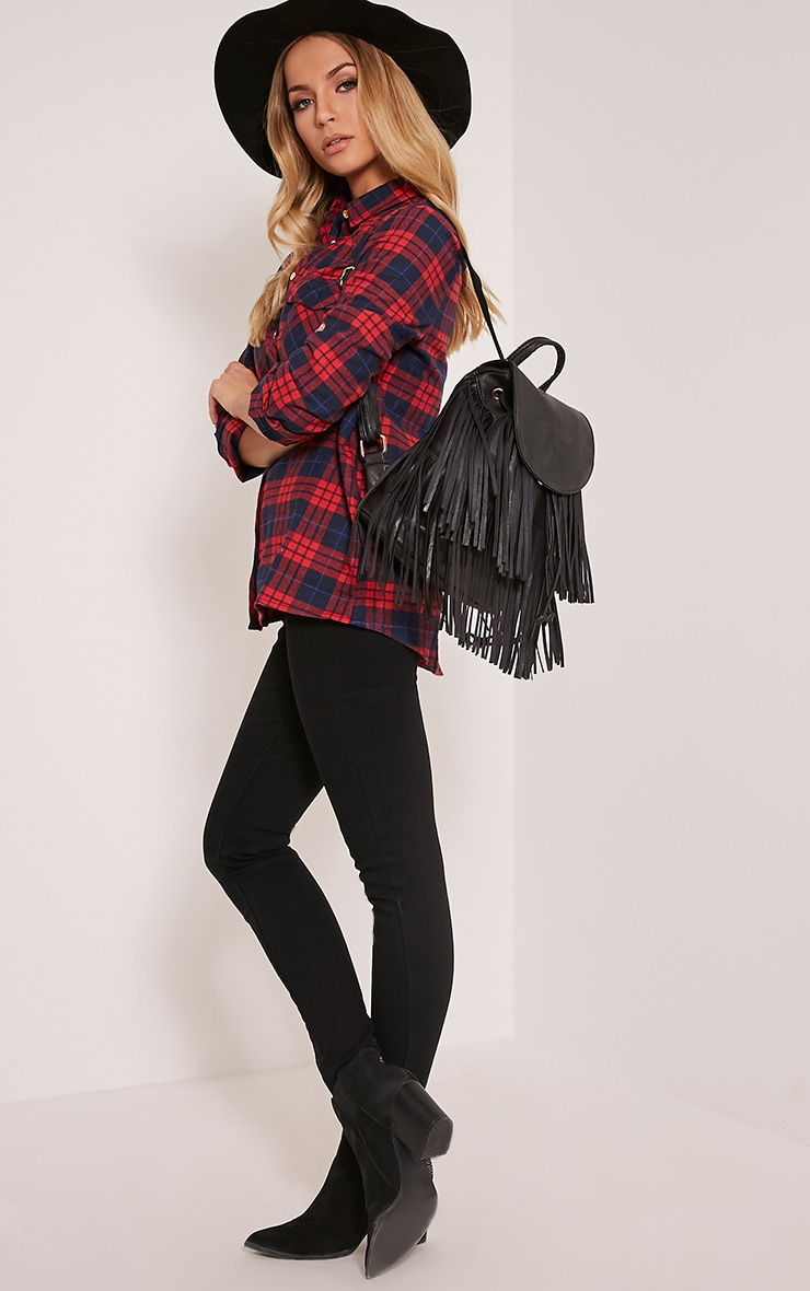 Harli Black Faux Leather Fringe Detail Backpack 2