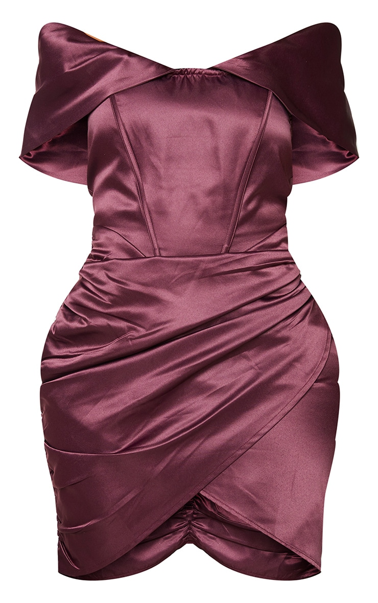 Shape Plum Ruched Corset Detail Bardot Bodycon Dress 5