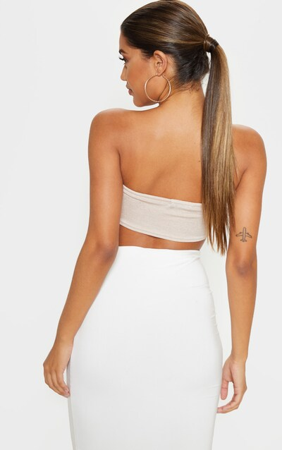 Champagne Slinky Ring Detailed Bandeau Top