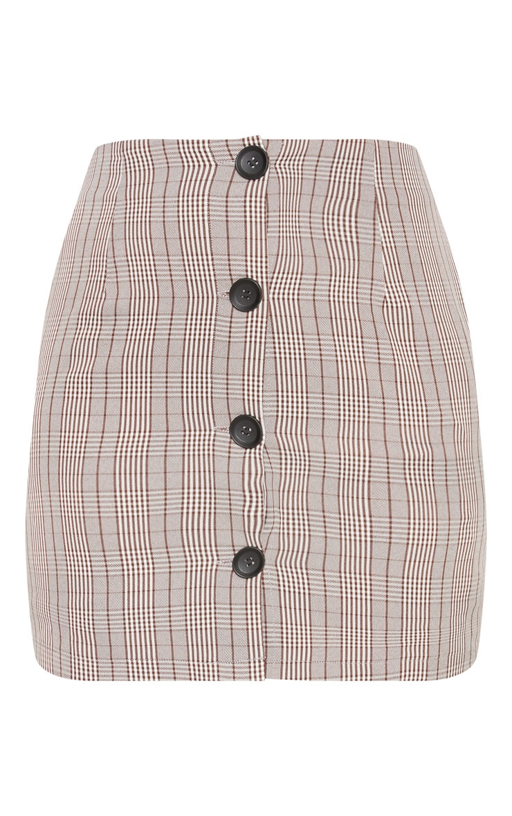 Brown Check Button Up High Waisted Skirt 3