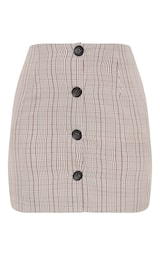 b2ff02382cddd Brown Check Button Up High Waisted Skirt image 3