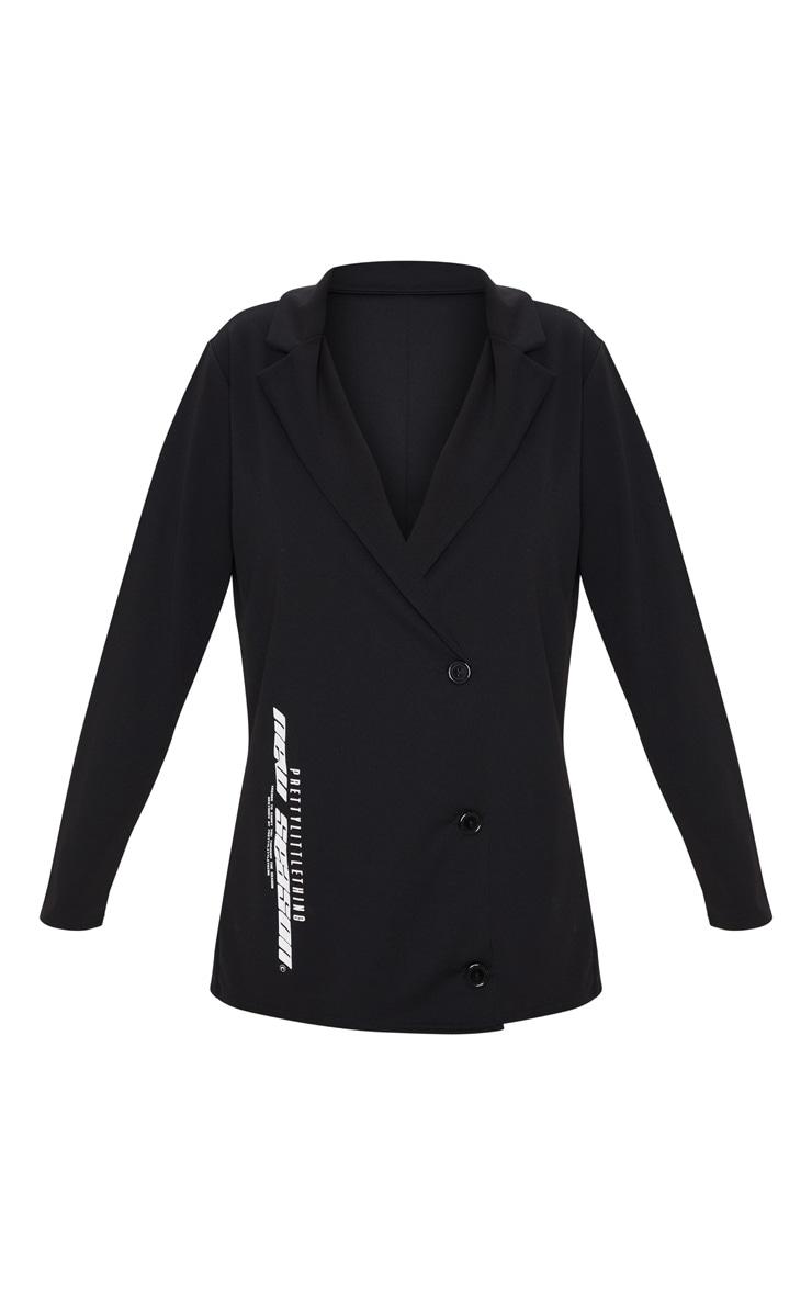 PRETTYLITTLETHING Black Slogan Oversized Blazer Dress 6