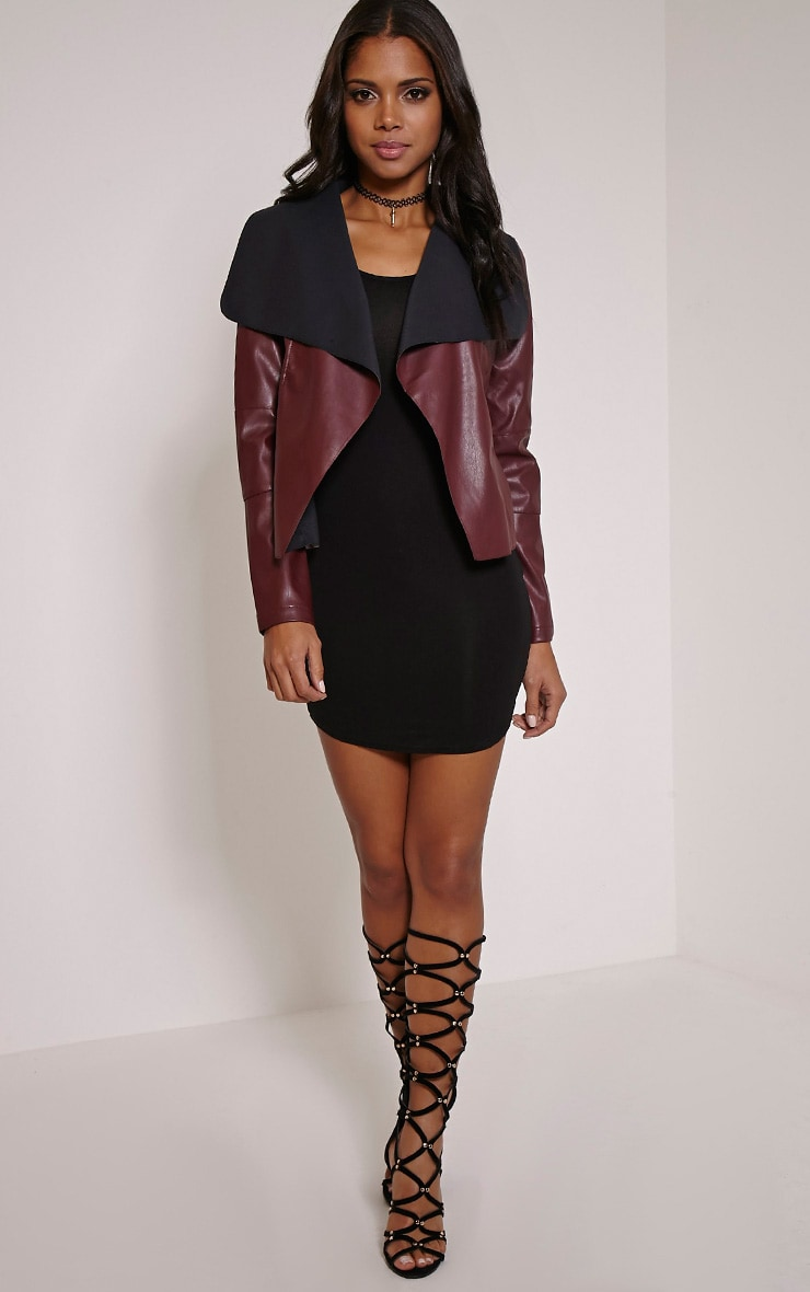 Mischa Burgundy Faux Leather Waterfall Jacket 4