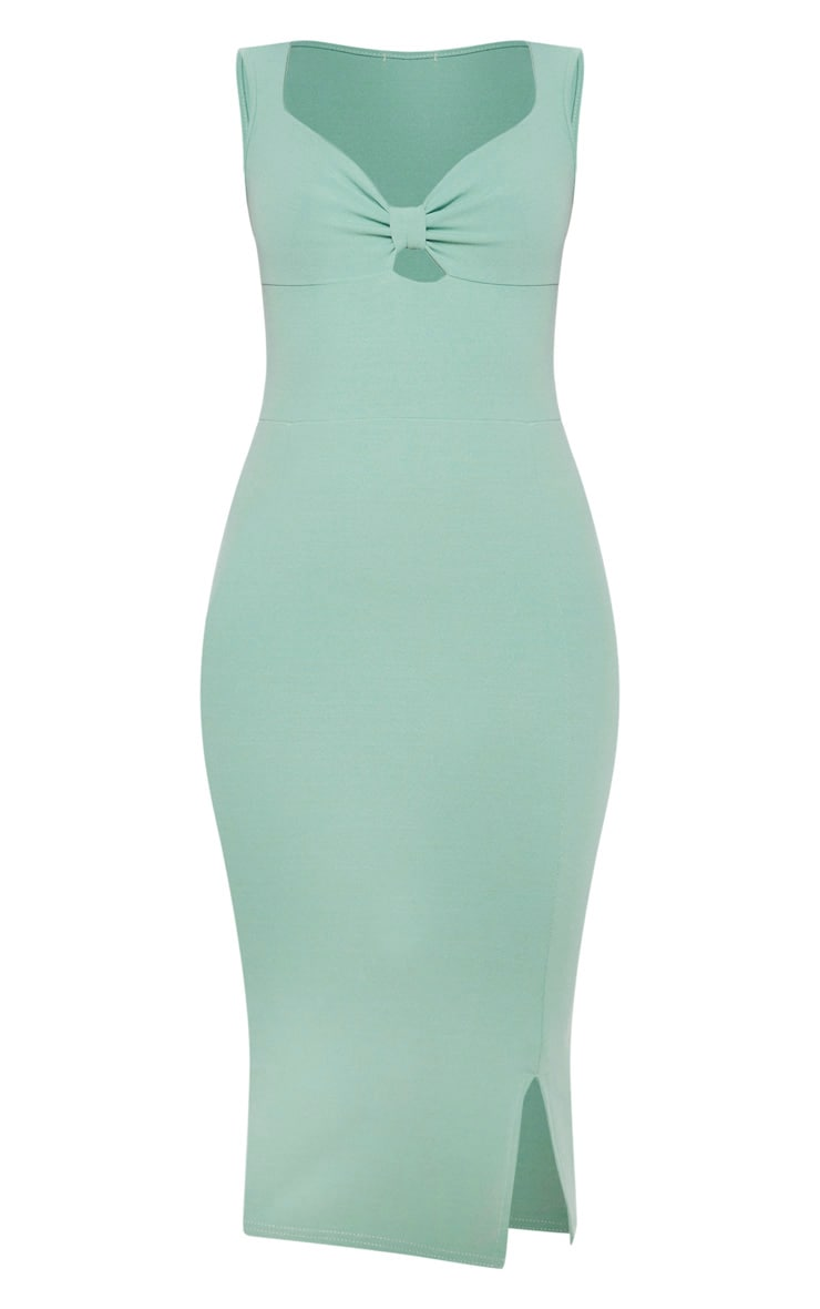 Sage Green Knot Front Plunge Bodycon Dress 3
