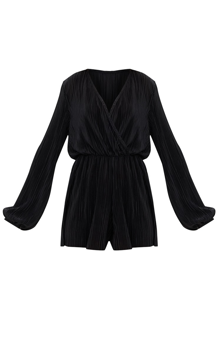 Black Pleated Long Sleeve Wrap Playsuit 3