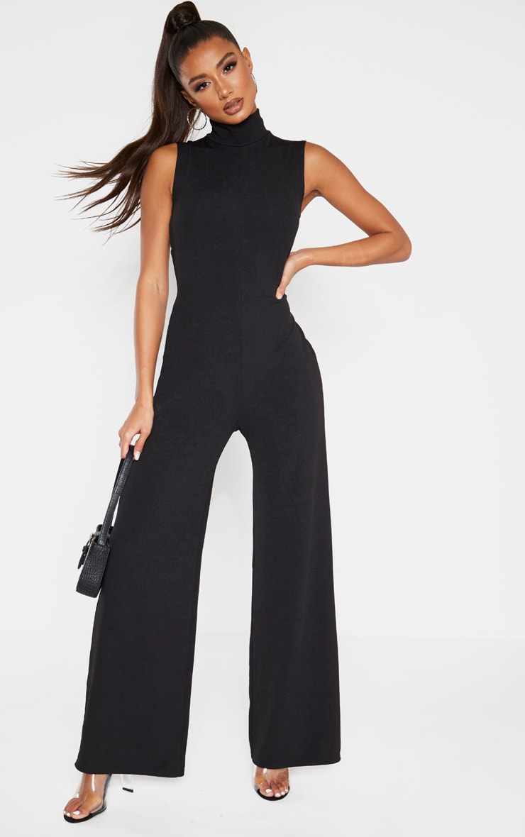 Black High Neck Wide Leg Rib Jumpsuit 4