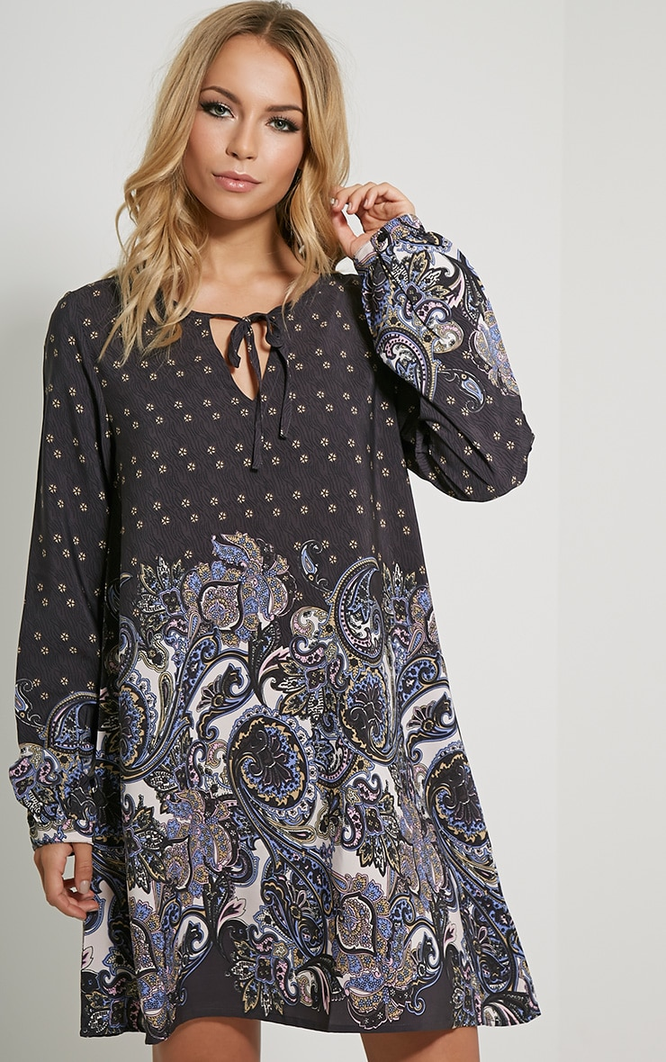 Tamzin Black Paisley Shift Dress 1