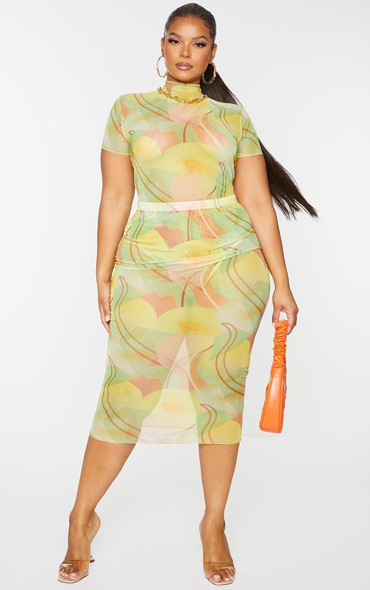Plus Yellow Abstract Print Short Sleeve Mesh Bodysuit 1