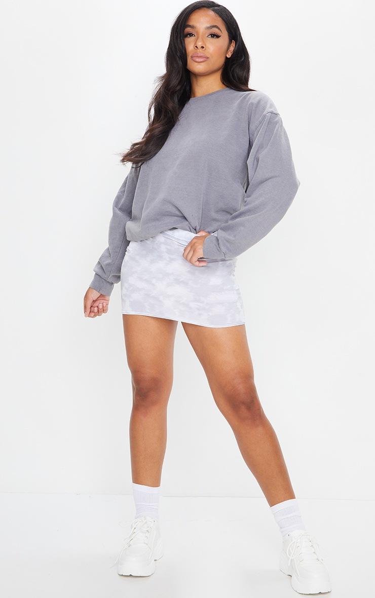 Grey Tie Dye Print Mini Skirt 4