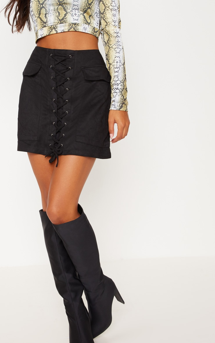 Ziva Black Faux Suede Lace Up Mini Skirt 7
