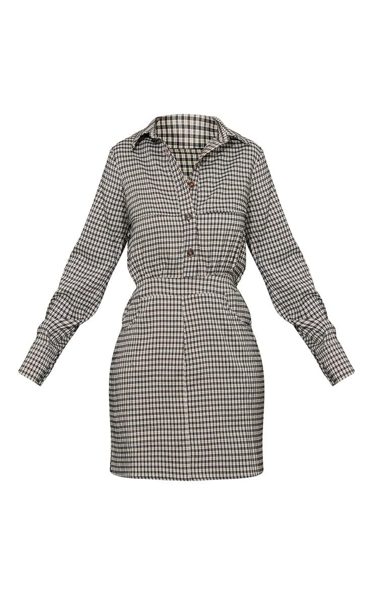 Black Check Pocket Detail Button Up Shirt Dress 5