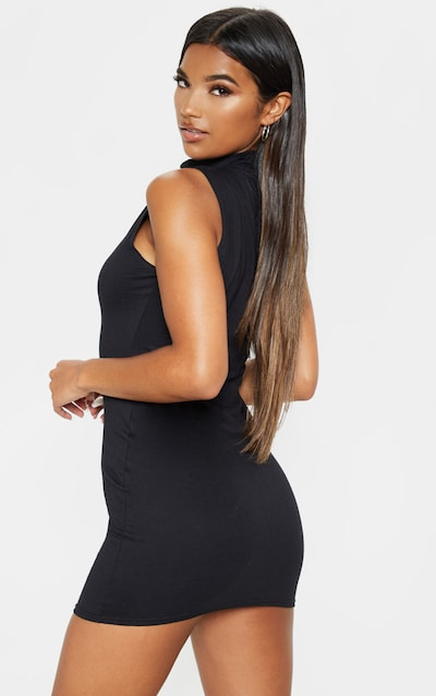 Black High Neck Cotton Bodycon Dress