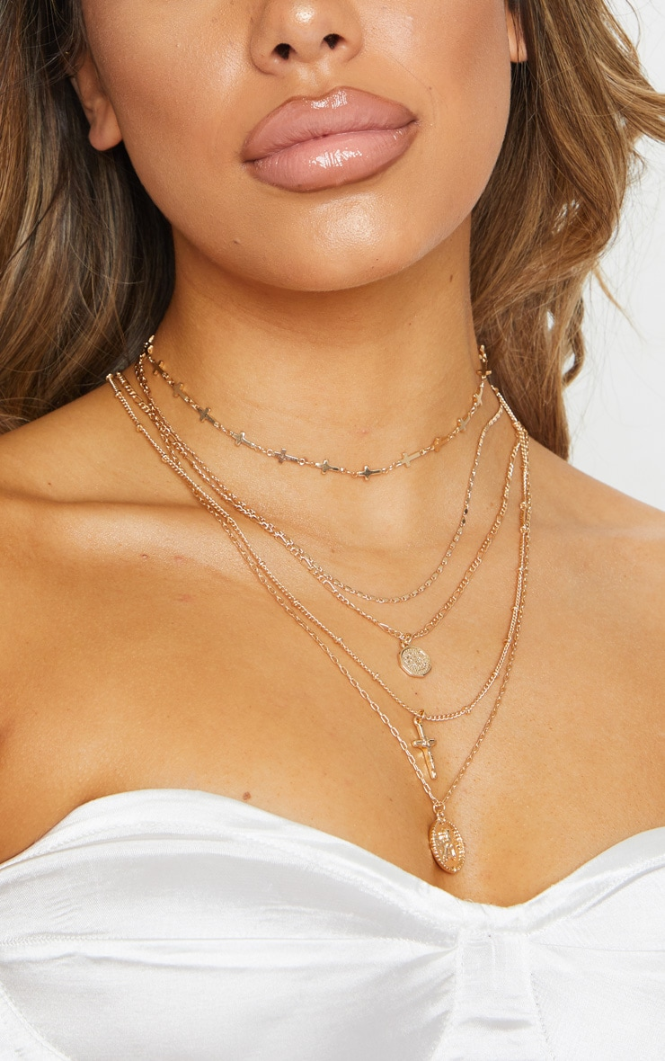 Gold Cross And Cherub Layering Necklace 3