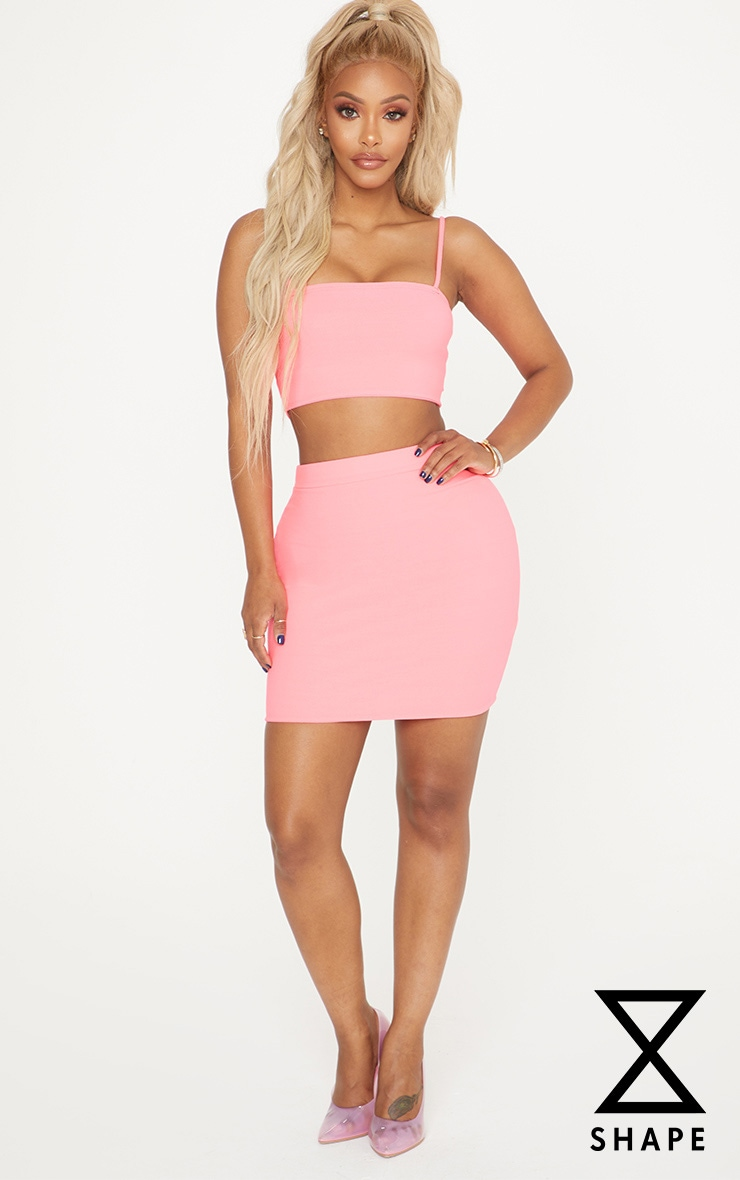 Shape Neon Pink  Bodycon Skirt  by Prettylittlething