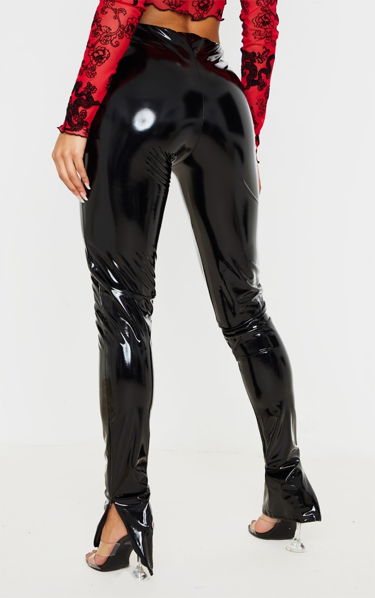 Black Vinyl Split Hem Skinny Trousers 4