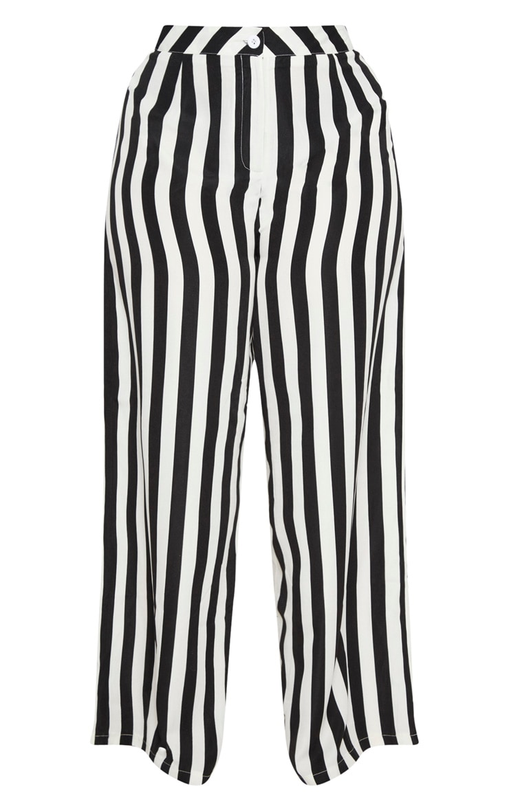 Plus Black Striped Wide Leg Trousers 3