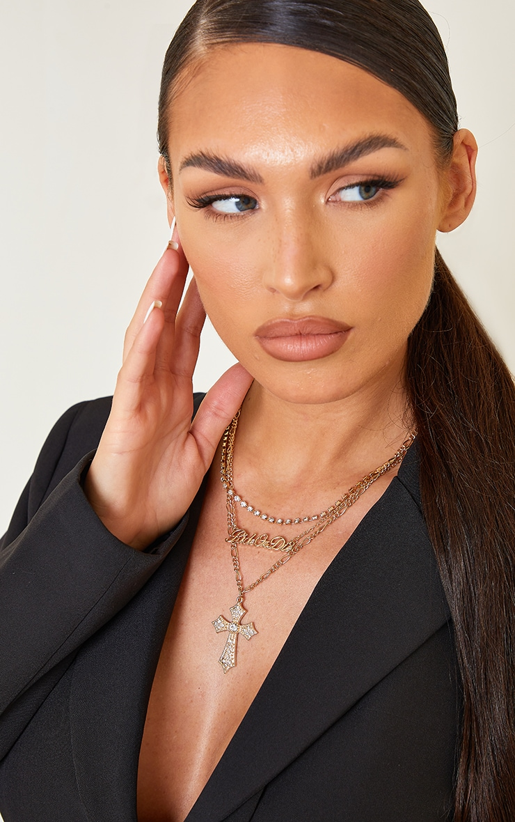 Gold Assorted Diamante Ride Or Die Layering Necklace 1