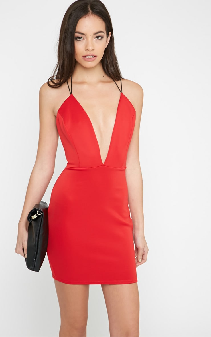 Gisele Red Plunge Dress 1