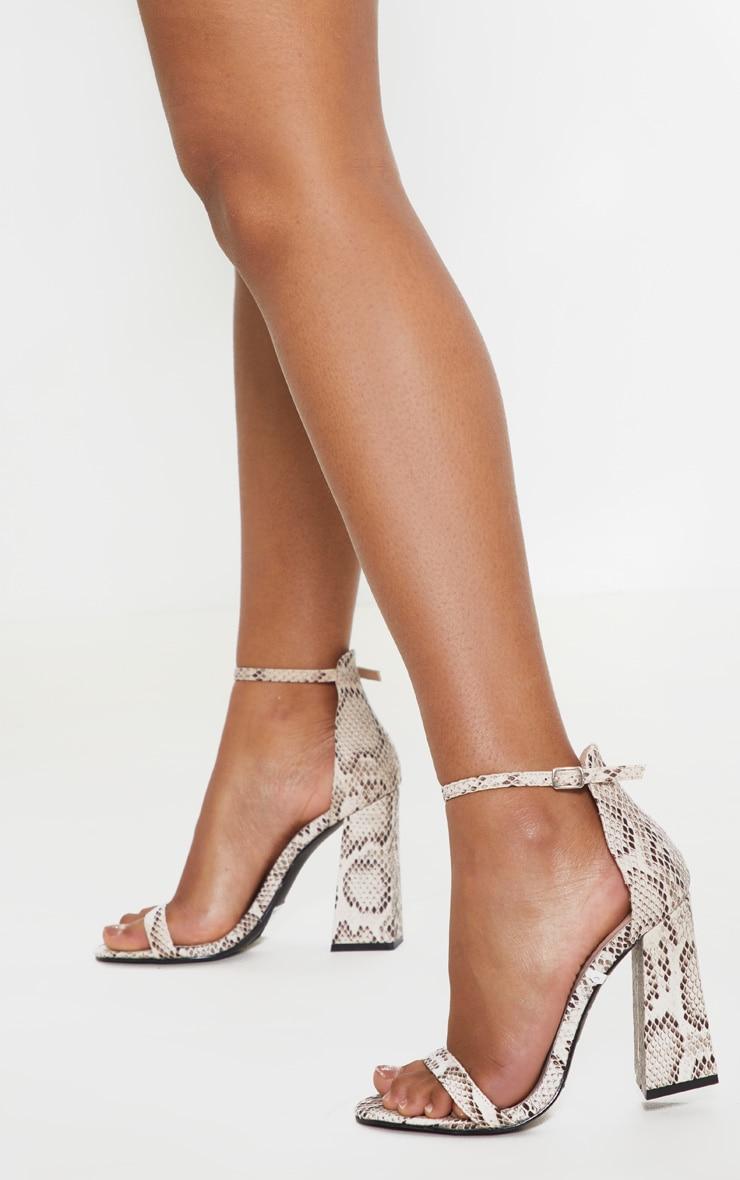 Snake High Block Heel Sandal 1