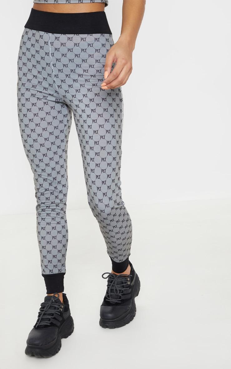 PRETTYLITTLETHING Grey Contrast Waistband Legging  2