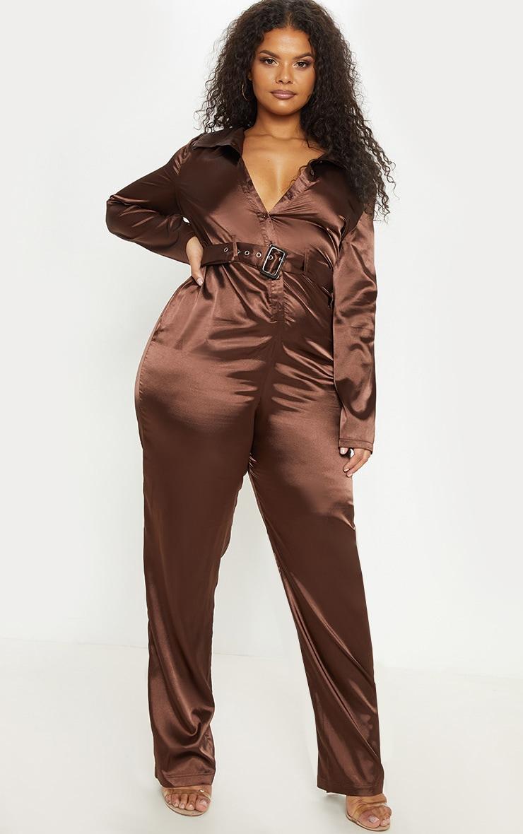 Plus Chocolate Brown Satin Button Front Jumpsuit 4