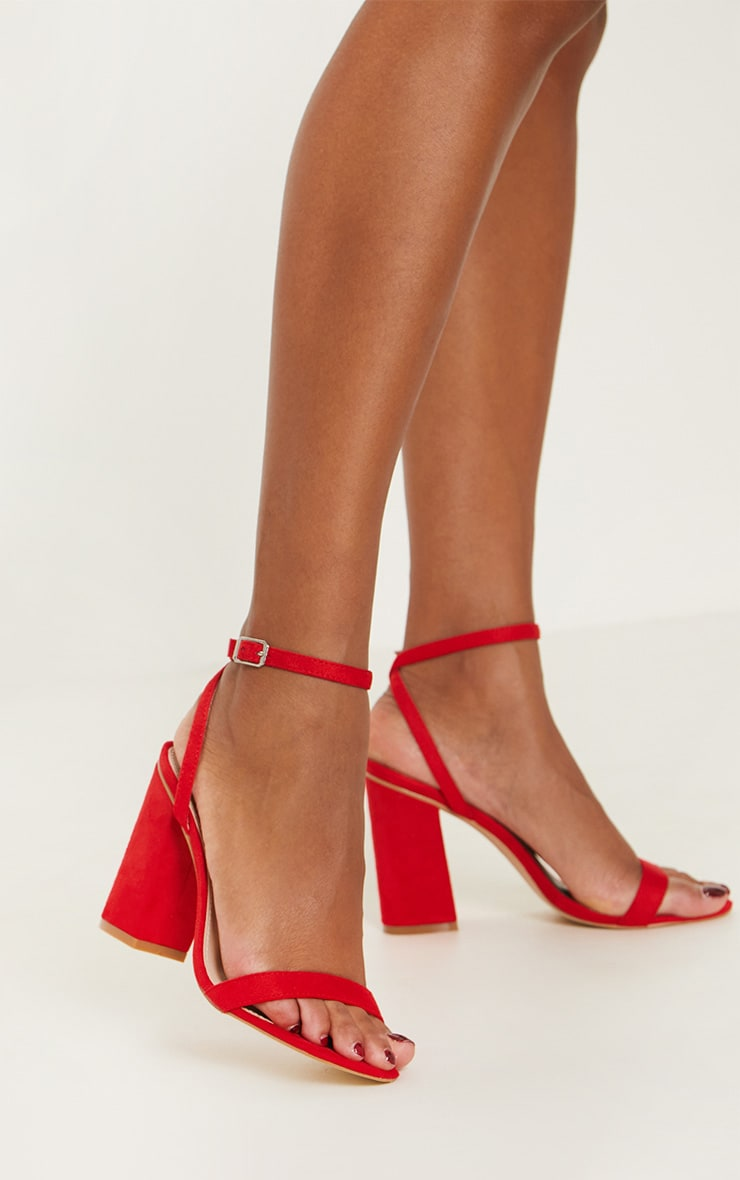 Red Ankle Strap Block Heel 1