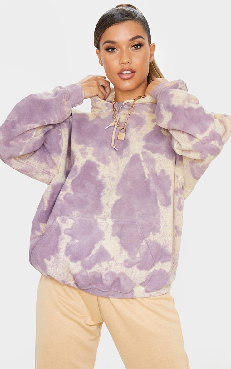 Washed Violet Acid Wash Oversized Hoodie 1