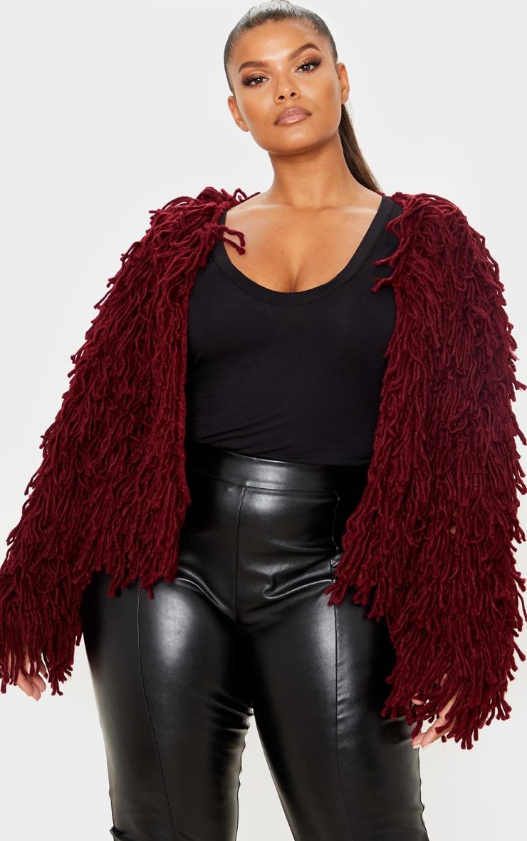 Plus Burgundy Shaggy Knit Cropped Cardigan 1